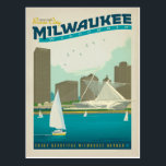 """Milwaukee, WI Postcard<br><div class=""""desc"""">Anderson Design Group is an award-winning illustration and design firm in Nashville,  Tennessee. Founder Joel Anderson directs a team of talented artists to create original poster art that looks like classic vintage advertising prints from the 1920s to the 1960s.</div>"""