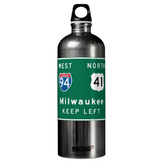 Milwaukee, WI Road Sign Aluminum Water Bottle