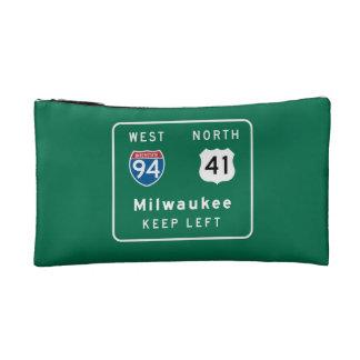 Milwaukee, WI Road Sign Cosmetic Bag