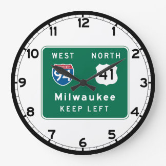 Milwaukee, WI Road Sign Large Clock