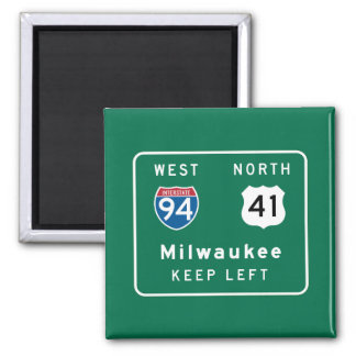 Milwaukee, WI Road Sign Refrigerator Magnets