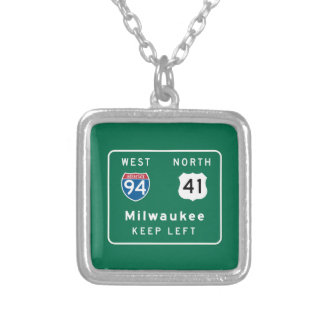 Milwaukee, WI Road Sign Personalized Necklace