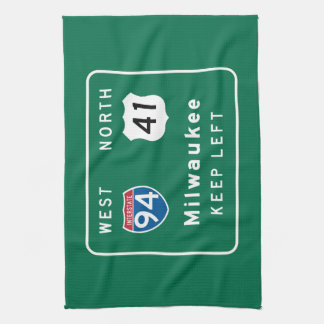 Milwaukee, WI Road Sign Towel
