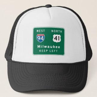 Milwaukee, WI Road Sign Trucker Hat