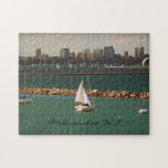 """Milwaukee, WI Skyline Jigsaw Puzzle<br><div class=""""desc"""">A gorgeous scene of Lake Michigan with the Milwaukee skyline in the background!  A beautiful,  Summer afternoon finds families enjoying all that Lake Michigan has to offer.  The Summer sun turns the water an amazing shade of blue!  Wisconsin... it&#39;s not just about beer and cheese curds.</div>"""