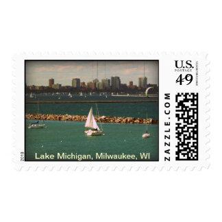 Milwaukee, WI Skyline Postage Stamp