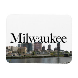 Milwaukee WI Skyline with Milwaukee in the Sky Rectangular Photo Magnet