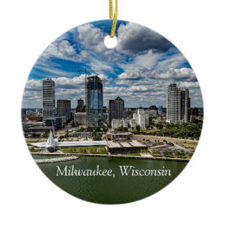 Milwaukee Wisconsin Cheese Head Christmas Keepsake Ceramic Ornament