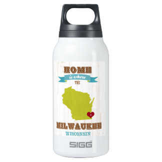 Milwaukee, Wisconsin Map – Home Is Where The Heart Insulated Water Bottle