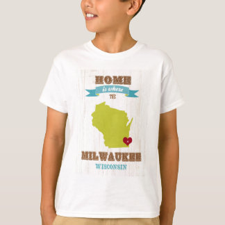 Milwaukee, Wisconsin Map – Home Is Where The Heart T-Shirt