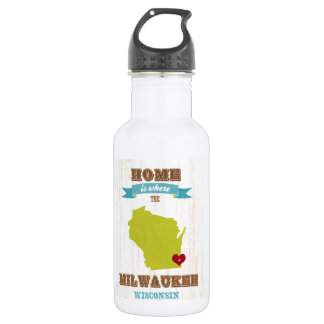 Milwaukee, Wisconsin Map – Home Is Where The Heart Water Bottle