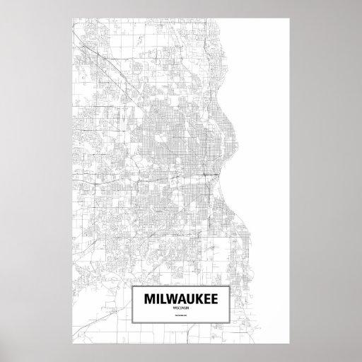 Milwaukee, Wisconsin (negro en blanco) Poster