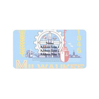 Milwaukee Wisconsin United States flag Address Label