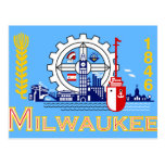Milwaukee, Wisconsin, United States flag Postcard