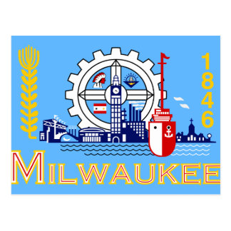 Milwaukee, Wisconsin, United States flag Postcard