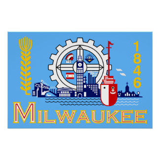 Milwaukee, Wisconsin, United States flag Poster
