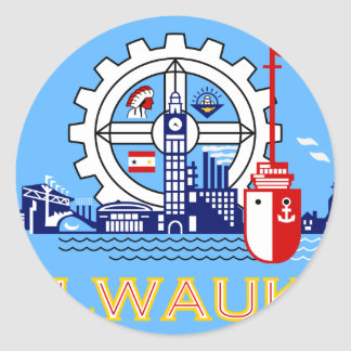 Milwaukee Wisconsin United States flag Round Sticker