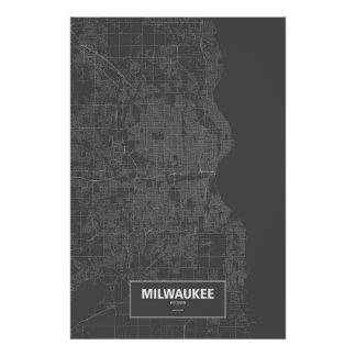 Milwaukee, Wisconsin (white on black) Poster