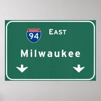 Milwaukee Wisconsin wi Interstate Highway Freeway Poster