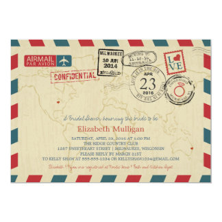 Milwaukee World Traveler Airmail | Bridal Shower Card