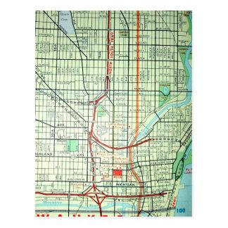 MILWAUKEE, WS Vintage Map Postcard