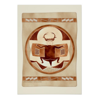 Mimbres Bat-Deer-Bison-Man Print