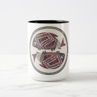 Mimbres Pottery Design Two-Tone Coffee Mug