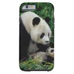 Mime a la panda y al bebé en el arbusto de bambú, funda de iPhone 6 tough