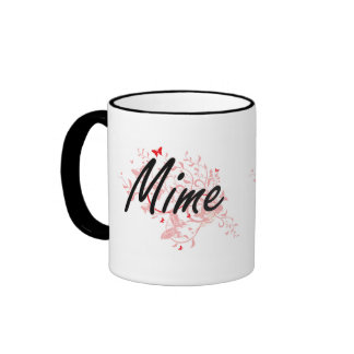 Mime Artistic Job Design with Butterflies Ringer Mug