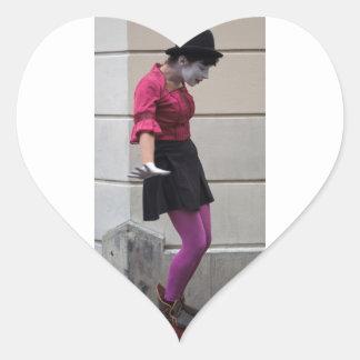 Mime de la calle de París Pegatina En Forma De Corazón