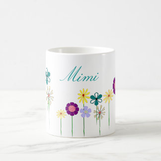 Mimi - bright flowers for her classic white coffee mug