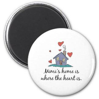 Mimi' el hogar de s es donde está el corazón iman de frigorífico