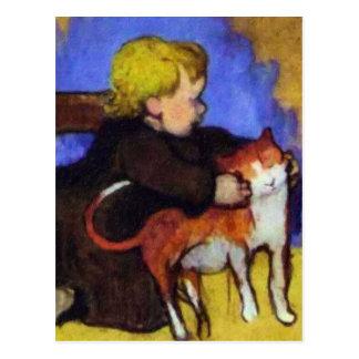 Mimi y su gato de Paul Gauguin Tarjetas Postales