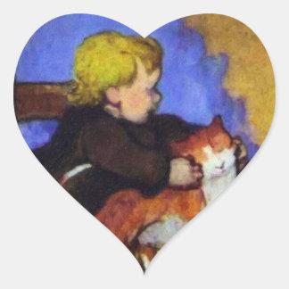 Mimi y su gato - por Paul Gauguin Pegatina De Corazon Personalizadas