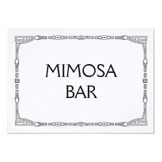 """Mimosa Bar"" Art Deco Style Wedding Sign Card"