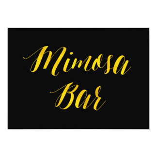 """""""Mimosa Bar"""" Faux Gold Foil Chic Wedding Sign Card"""