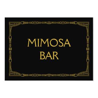 """Mimosa Bar"" Gold Art Deco Style Wedding Sign Card"