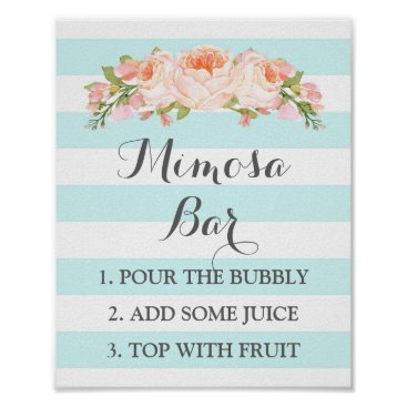 Toddler & Baby themed Mimosa Bar Sign Blue Flowers Stripes