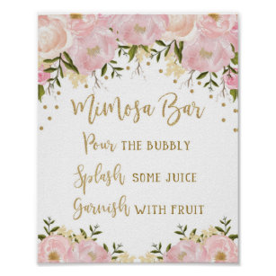 image regarding Mimosa Bar Sign Printable Free called Mimosa Bar Indication Blush Red Gold Floral Marriage
