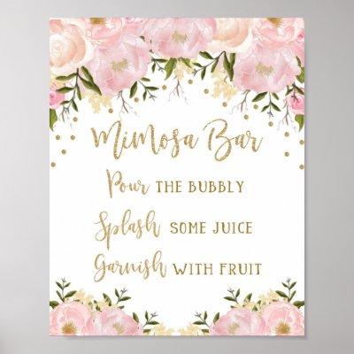 picture regarding Free Printable Mimosa Bar Sign known as Bridal Shower Mimosa Bar Indicator Blush Crimson Floral