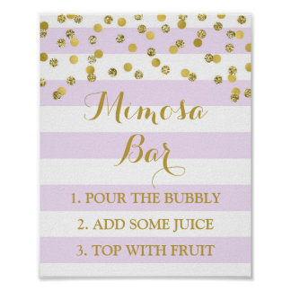 Mimosa Bar Sign Lavender Stripes Gold Confetti Poster