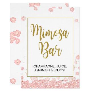 Mimosa Bar Sign | Pink and Gold Bridal Shower Card