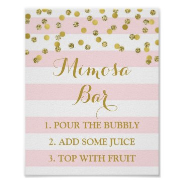 Toddler & Baby themed Mimosa Bar Sign Pink Stripes Gold Confetti