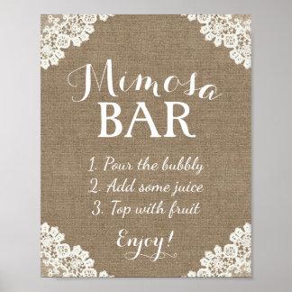 Mimosa Bar Sign | Vintage Burlap & Lace Poster