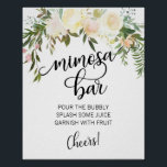 "MIMOSA BAR Watercolor Floral Pink Sign<br><div class=""desc"">Simply elegant floral rustic bouquet design in watercolor (watercolour) green greenery,  blush pink,  beige,  champagne,  vanilla,  peach,  white flower roses / peony on white background and black letters. Wedding bridal shower MIMOSA BAR SIGN for that spring or summer theme. Perfect outdoor cards.</div>"