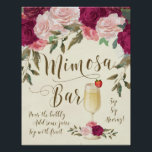 "Mimosa Bar Wedding Sign Burgundy Pink<br><div class=""desc"">A lovely floral Mimosa Bar sign to display at your wedding/bridal shower or party!</div>"