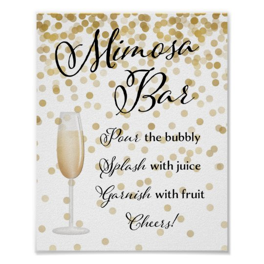 image regarding Mimosa Bar Sign Printable named Mimosa Bar Wedding ceremony Signal Gold