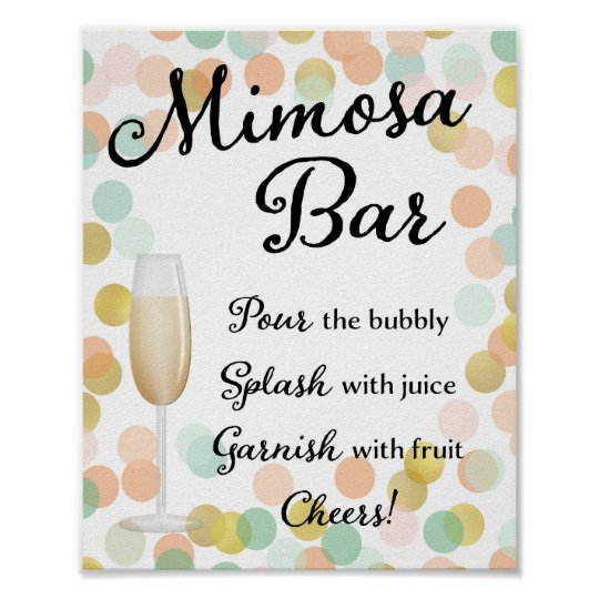picture about Mimosa Bar Sign Printable named Mimosa Bar Wedding day Signal Gold, Purple, Mint