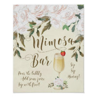 Mimosa Bar Wedding Sign ivory florals
