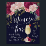 "Mimosa Bar Wedding Sign Navy Burgundy floral<br><div class=""desc"">Make a statement at your shower/wedding/party with this stunning Mimosa Bar sign in navy,  with pink and burgundy florals! Matching items available in my shop.</div>"